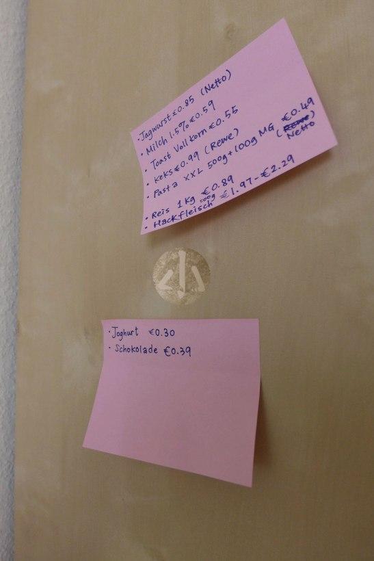 貼在廚房的日常食品價格Memo。